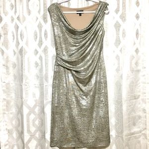 Connected Apparel Metallic Stretch Dress